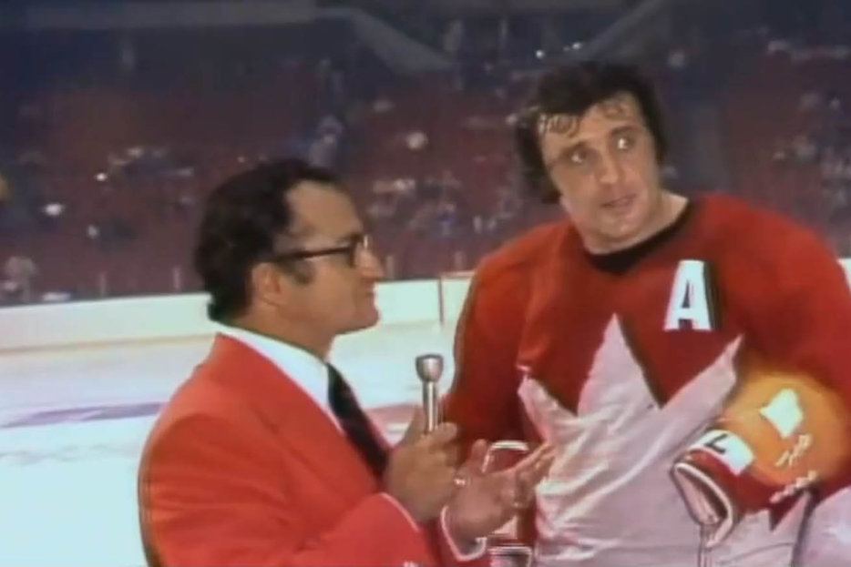 | Phil Esposito gives his infamous speech after the Summit series game 4 in Vancouver.