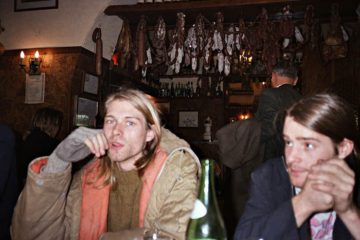 ||Kurt Cobain and Chad Channing (right). From the e-book Experiencing Nirvana: Grunge in Europe, 1989. Photo by Bruce Pavitt.