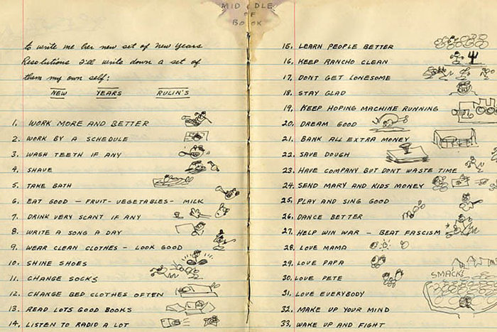   Woody Guthrie's list of New Year's resolutions, 1942