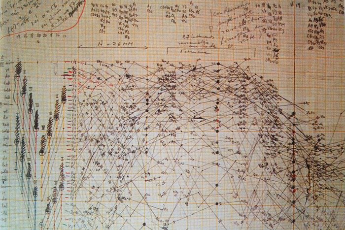  A musical score by composer Iannis Xenakis