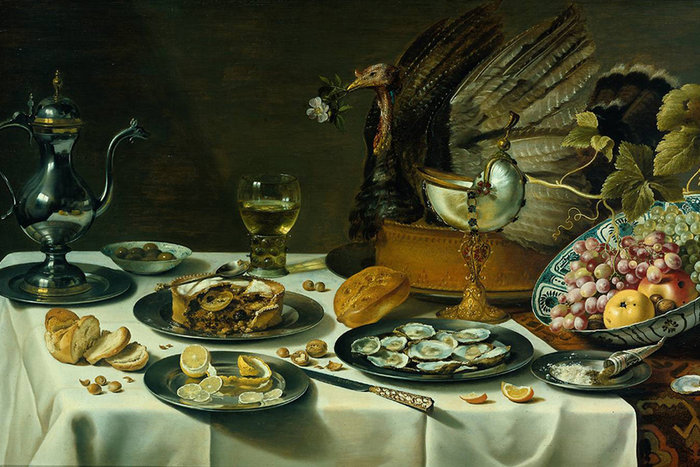 ||Still Life with Turkey Pie, Pieter Claesz (1627)